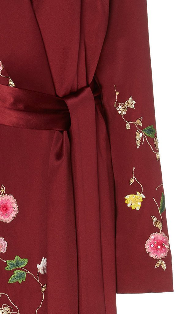Floral Embroidered Crepe Wrap Dress