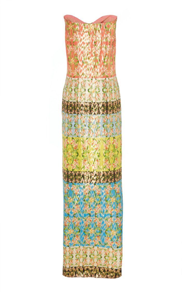 Printed Strapless Silk-Blend Lame Dress