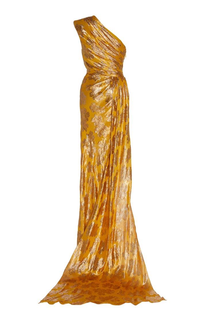 Metallic Jacquard One-Shoulder Gown