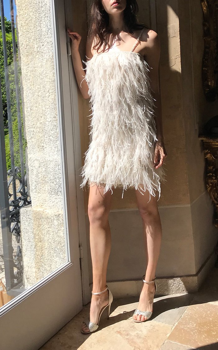 Ostrich Feather-Trim Shift Dress