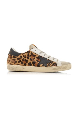 Superstar Distressed Printed Leather Sneakers