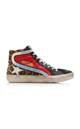 Multi-Color Leopard-Print Leather Sneakers