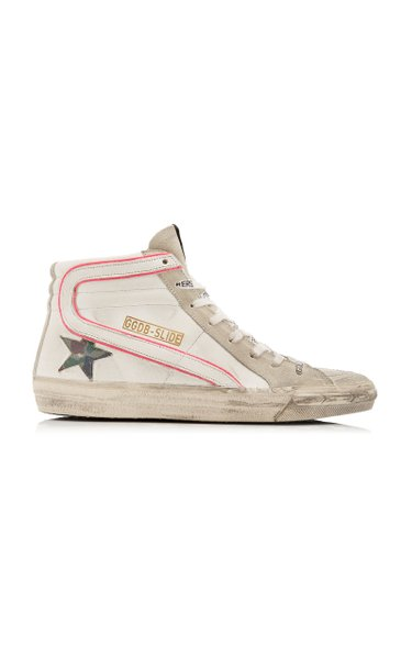 Slide Leather High-Top Sneakers