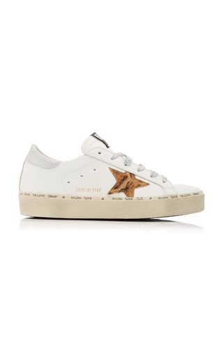 Hi Star Platform Leopard Calf Hair and Leather Sneakers
