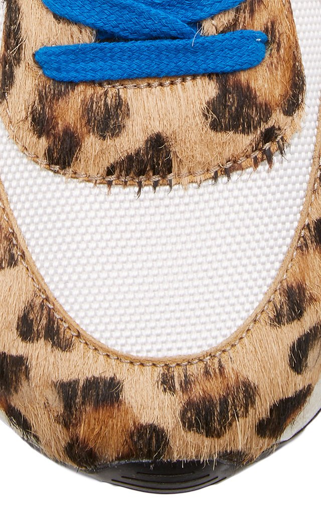 Leopard-Print Leather Running Sneakers