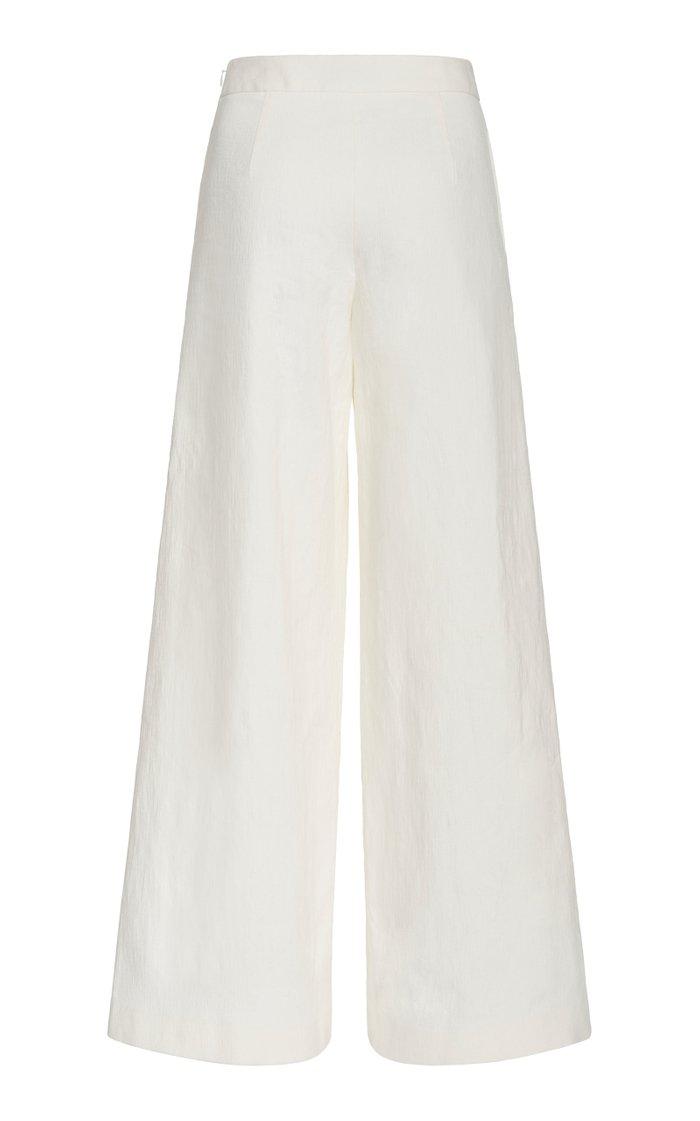 Linen-Blend Wide-Leg Pants