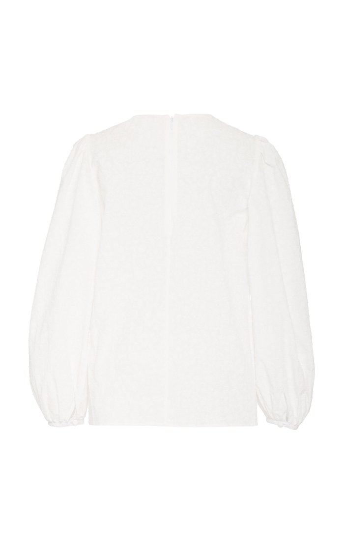 Floral-Embroidered Cotton-Poplin Top