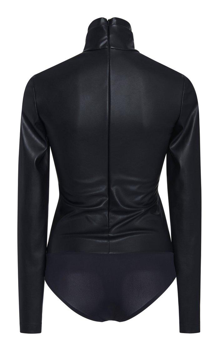 Faux Leather Turtleneck Bodysuit