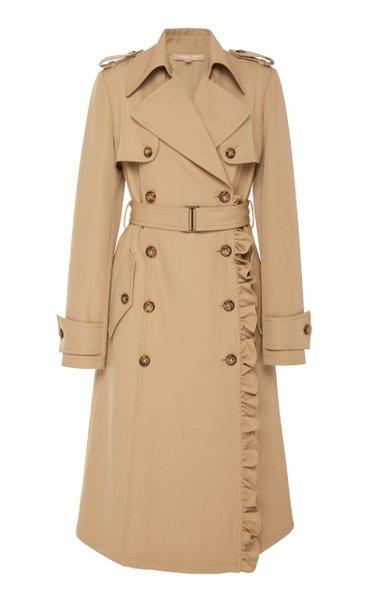 Ruffled Wool-Gabardine Trench Coat