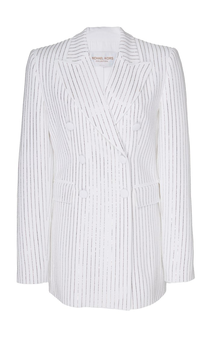 Pinstriped Double-Breasted Crepe Jacket
