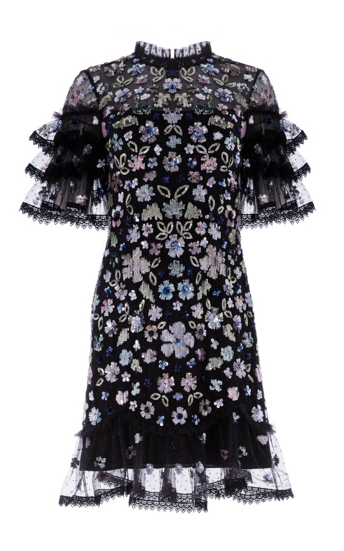 Meadow Ruffled Sequin Mini Dress