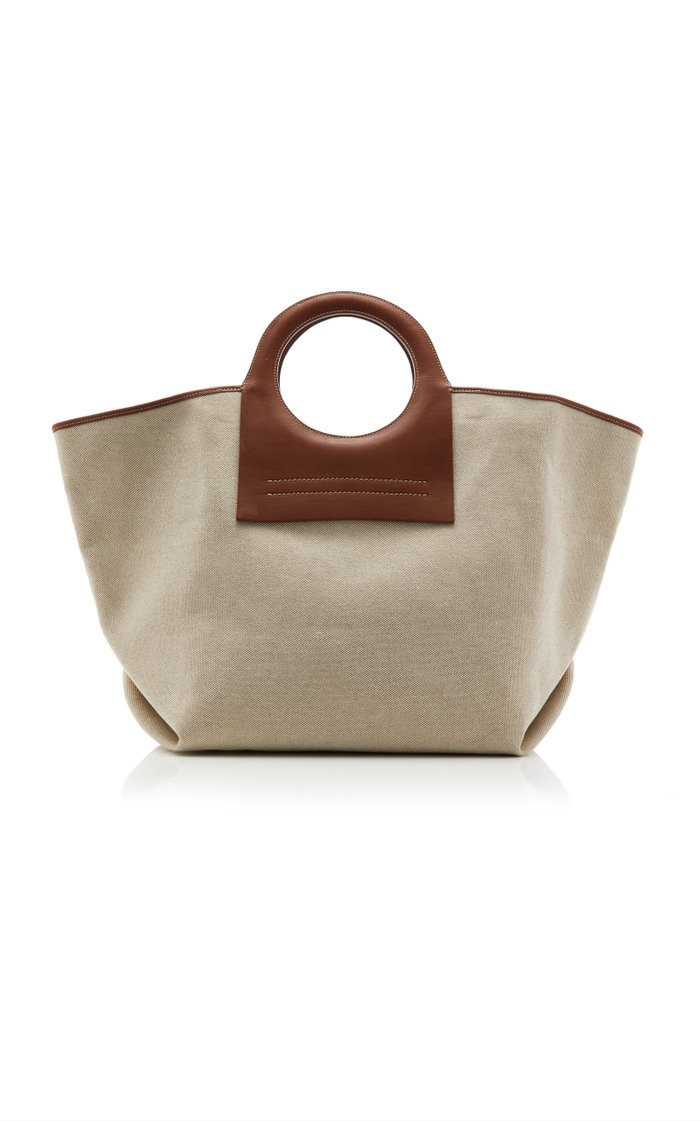 Cala Leather-Trimmed Canvas Tote