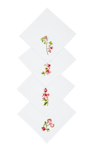 Set-Of-Four Embroidered Linen Napkins