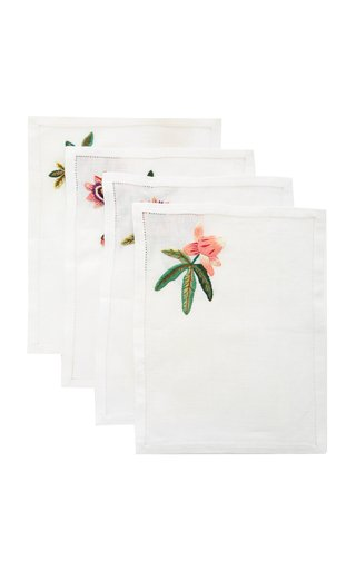Set-Of-Four Embroidered Linen Cocktail Napkins