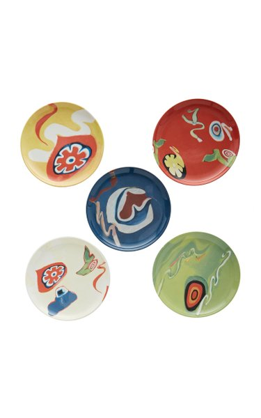 Set-of-Five Printed Ceramic Dessert Plates