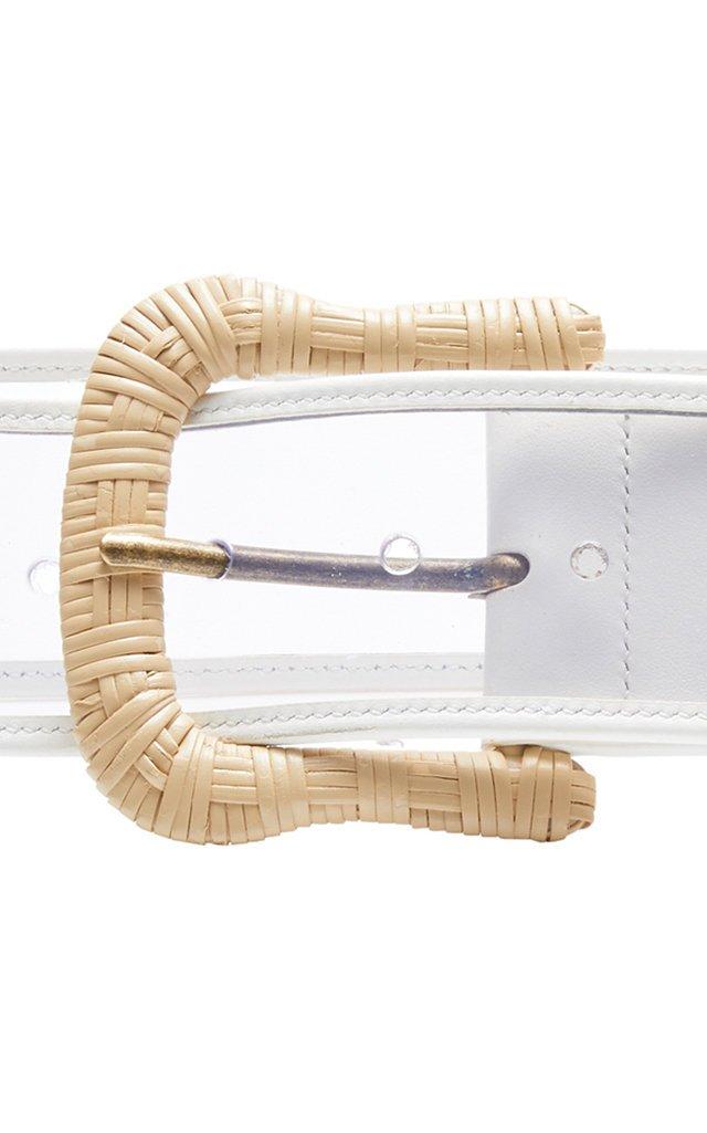 Rattan-Embellished Leather-Trimmed PVC Belt