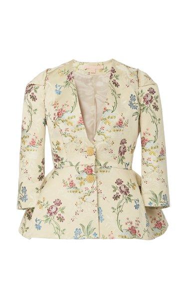 Floral-Jacquard Peplum Jacket