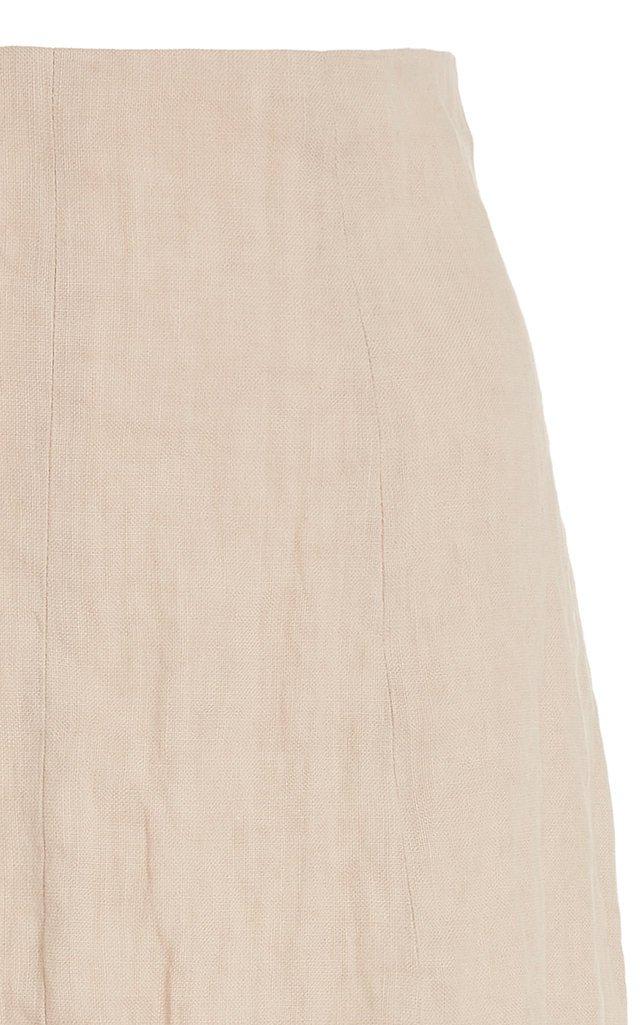 Linen-Blend Midi Skirt