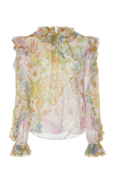 Ruffled Floral-Print Cotton-Blend Blouse