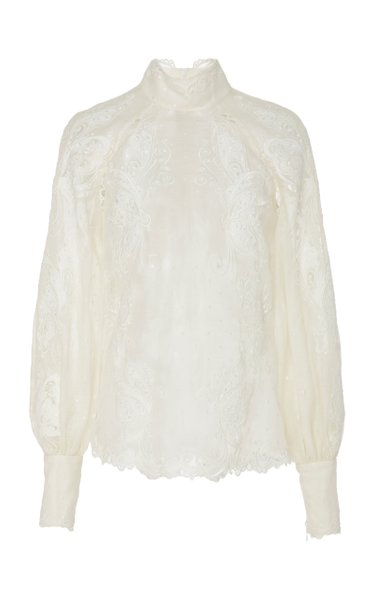 Floral-Embroidered Cotton Blouse