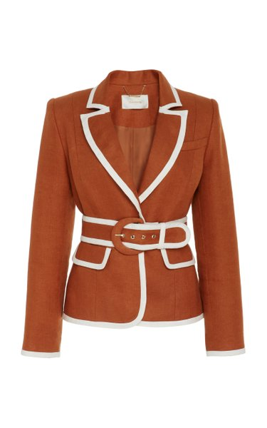 Belted Two-Tone Linen Blazer