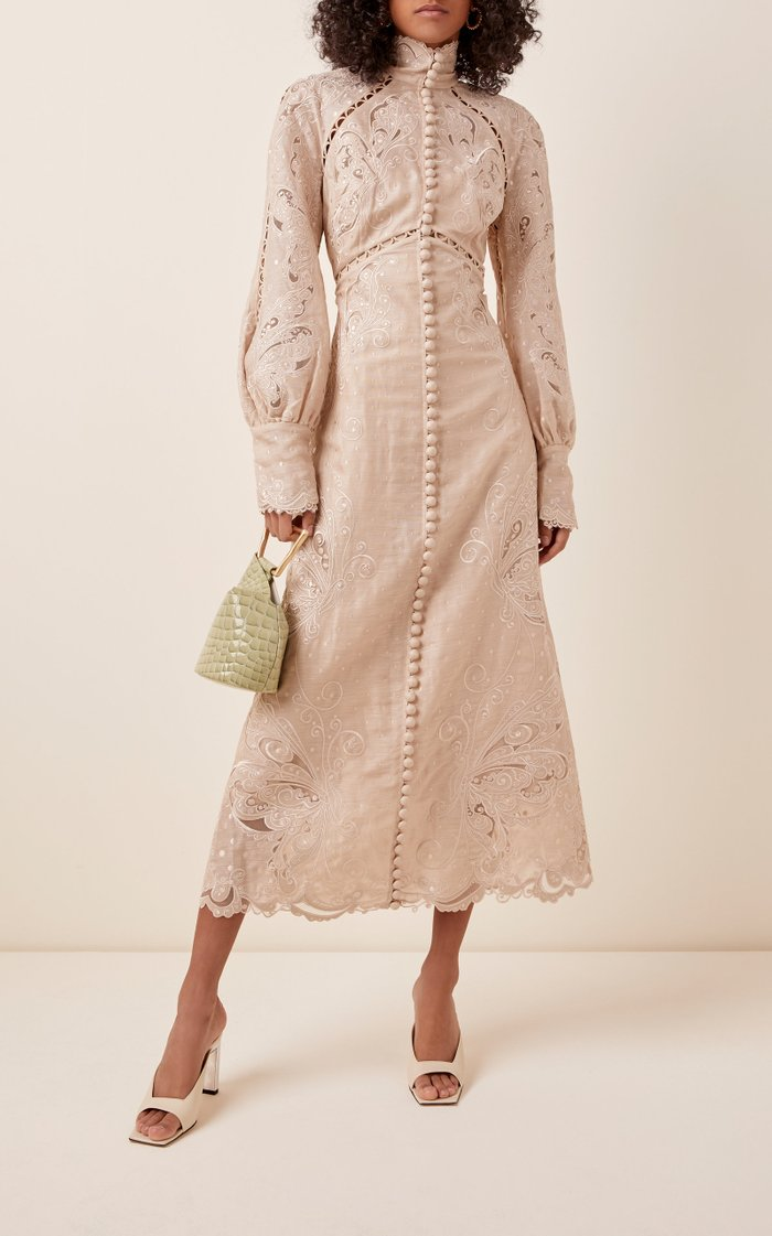 Button-Embellished Embroidered Midi Dress