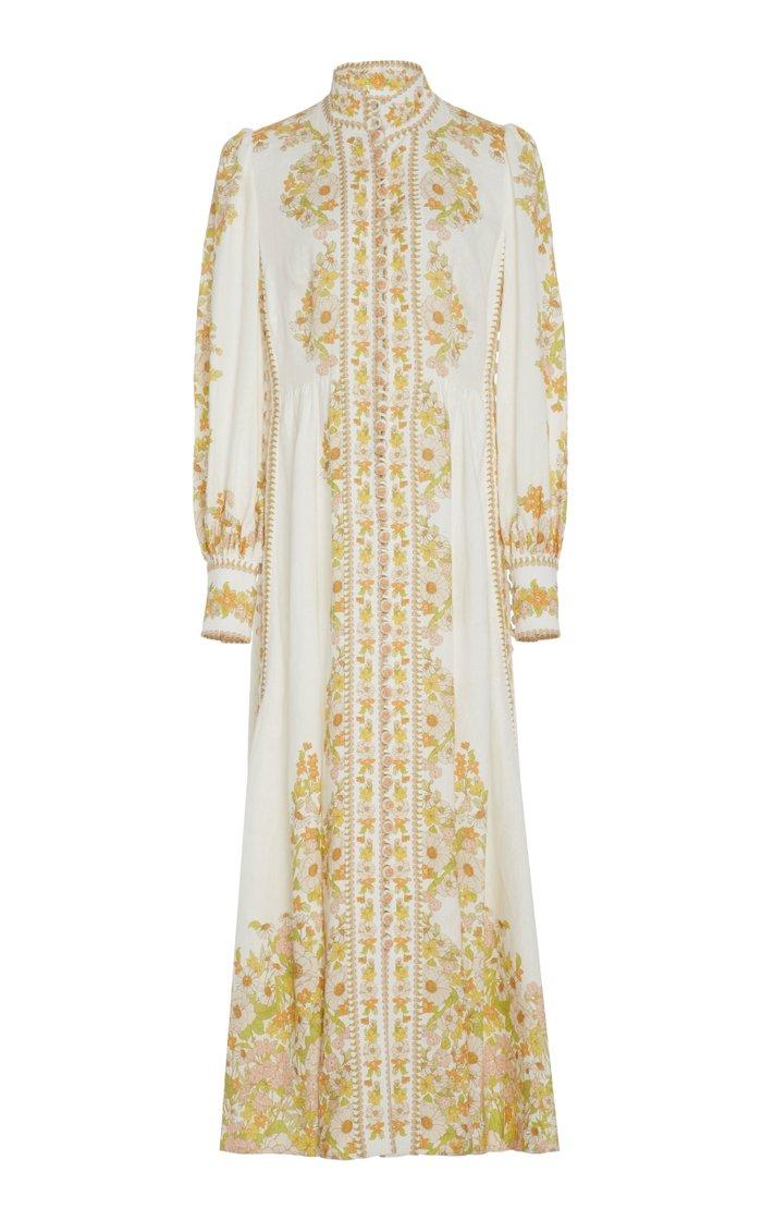 Floral-Print Linen Maxi Dress