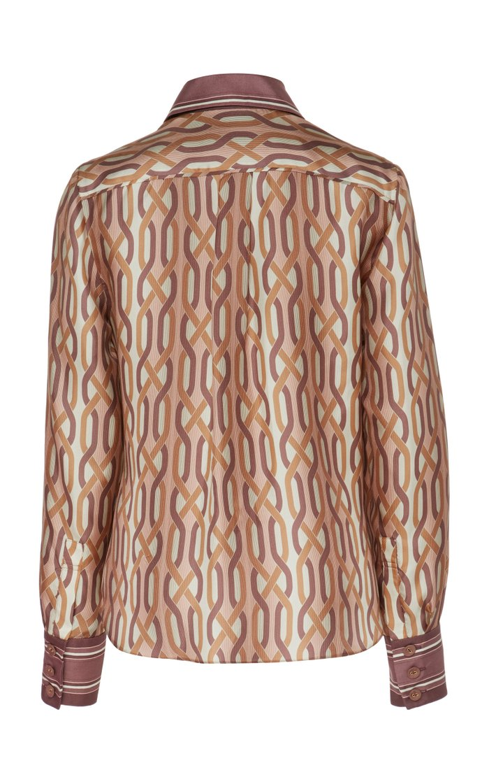 Pussy-Bow Two-Tone Printed Silk Shirt