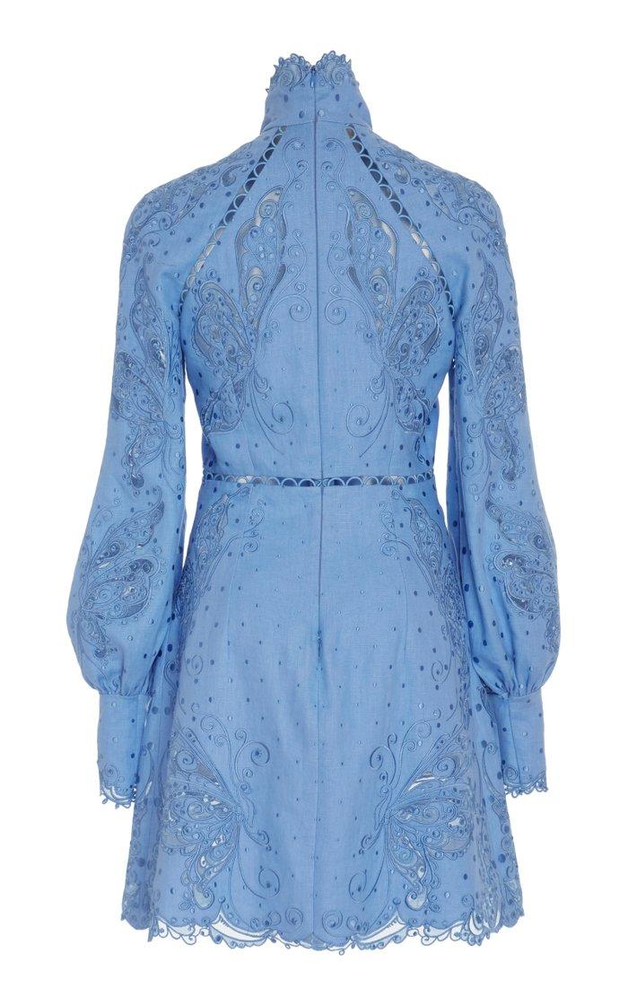 Broderie Anglaise Silk And Linen-Blend Mini Dress