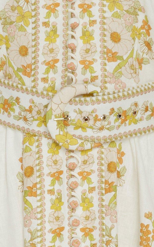 Belted Floral-Print Linen Mini Dress