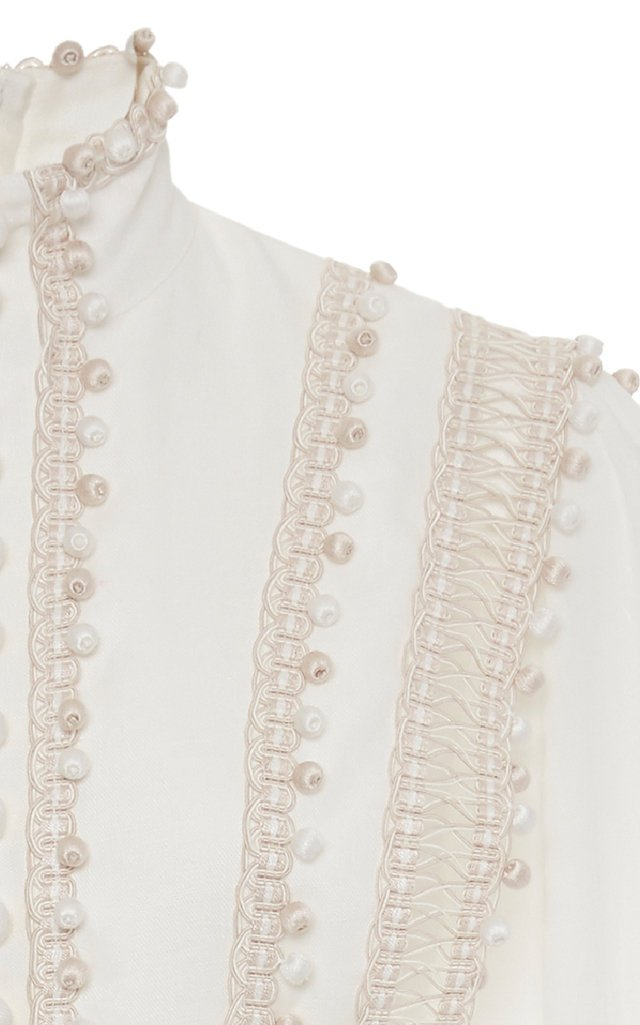 Embroidered Button-Detailed Ramie Mini Dress
