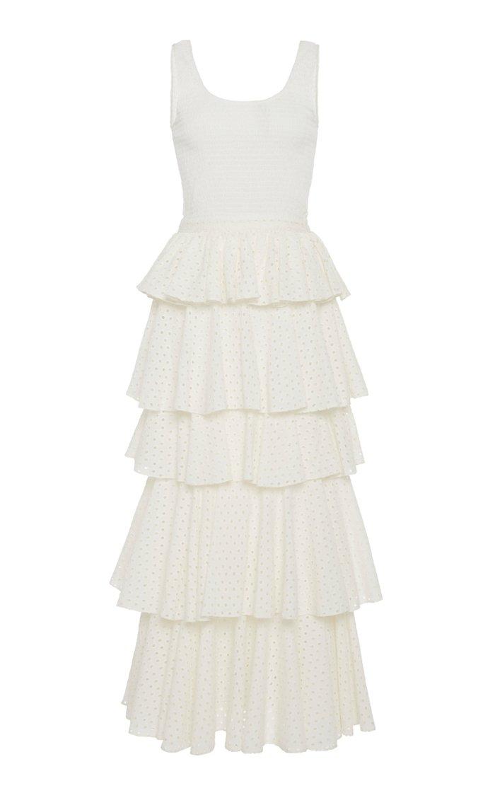 Naomi Tiered Broderie Anglaise Cotton Midi Dress