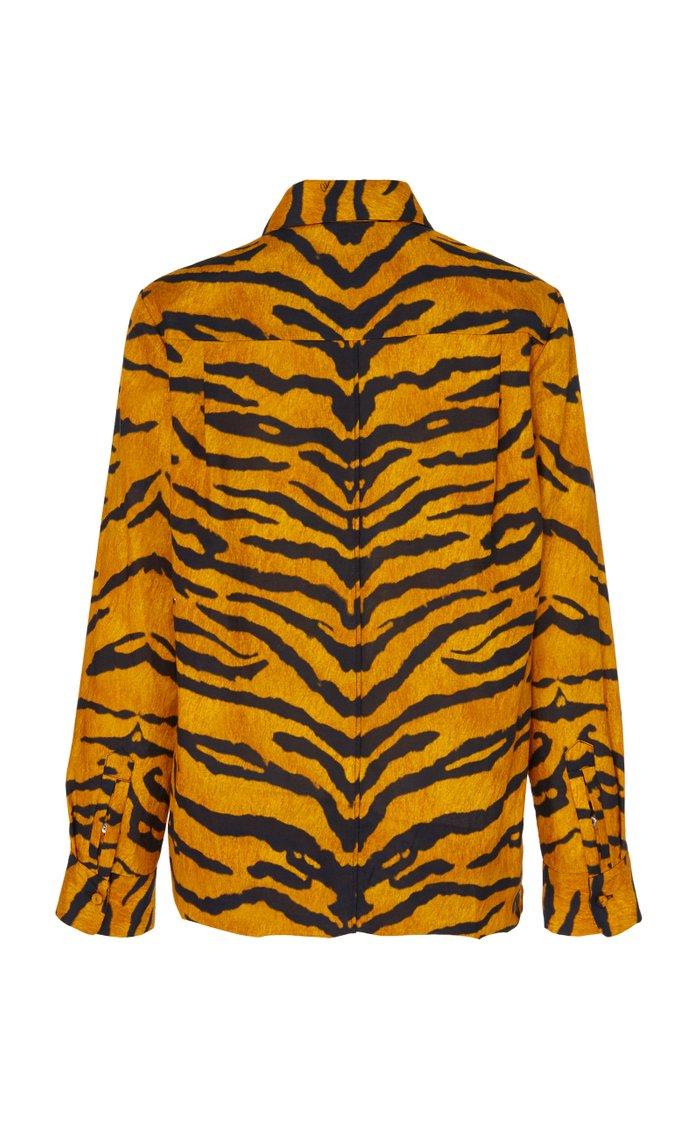 Tiger Print Button Down Shirt
