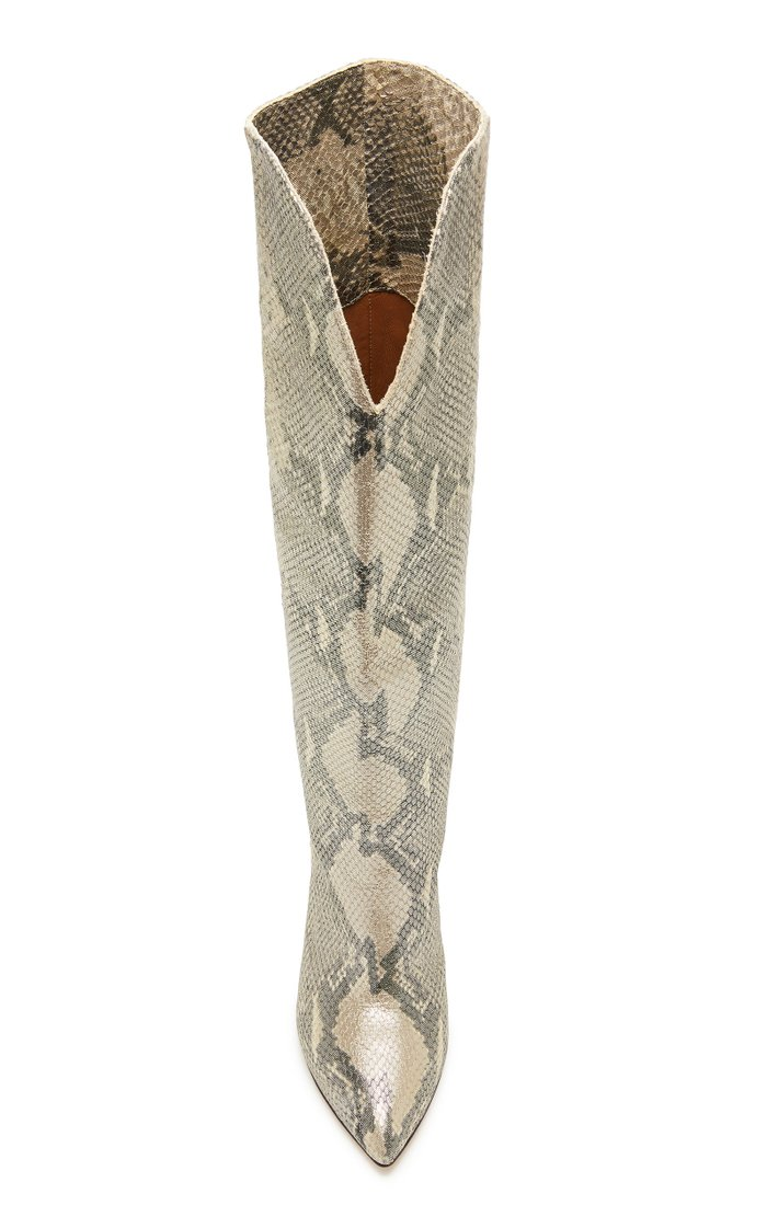 Python-Effect Leather Knee Boots