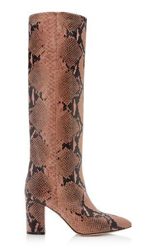 Python Print Leather Knee Boots