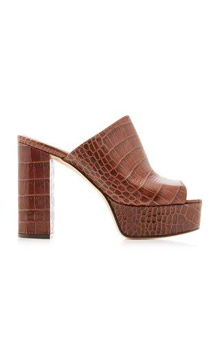 Moc Croco Platform Leather Mules