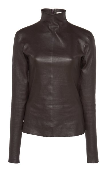 Mock Neck Leather Top