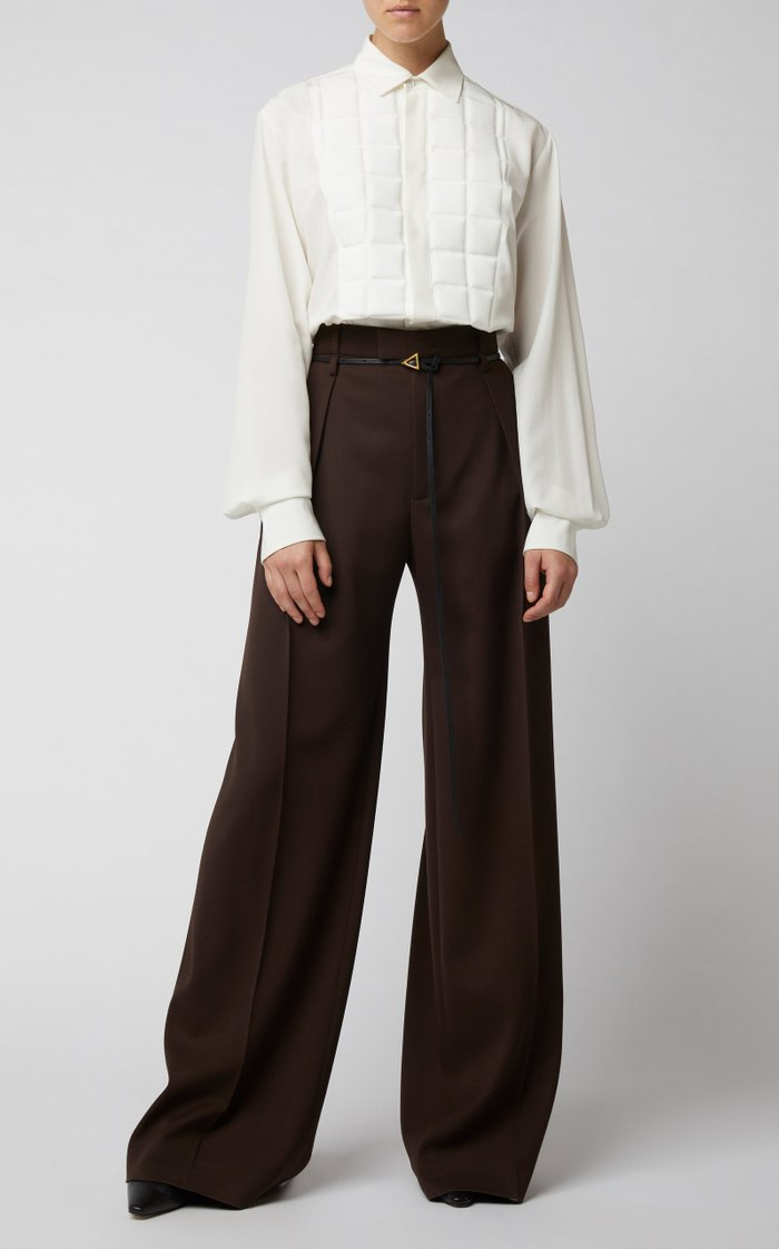 Mid-Rise Wool Pleated Wide-Leg Trouser