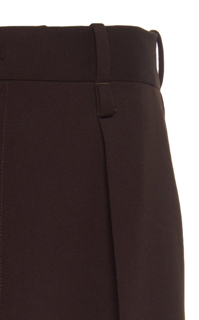 Mid-Rise Wool Pleated Wide-Leg Trouser