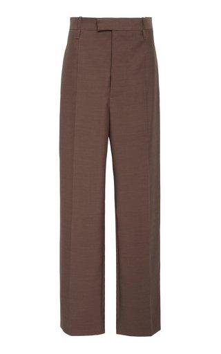 High-Rise Straight-Leg Wool Trouser
