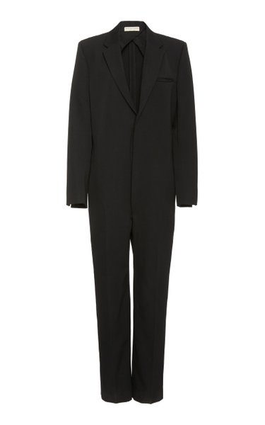 Tailored V-Neck Wool Jumpsuit