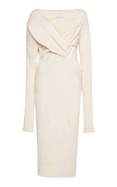 Asymmetric Draped Knitted Midi Dress