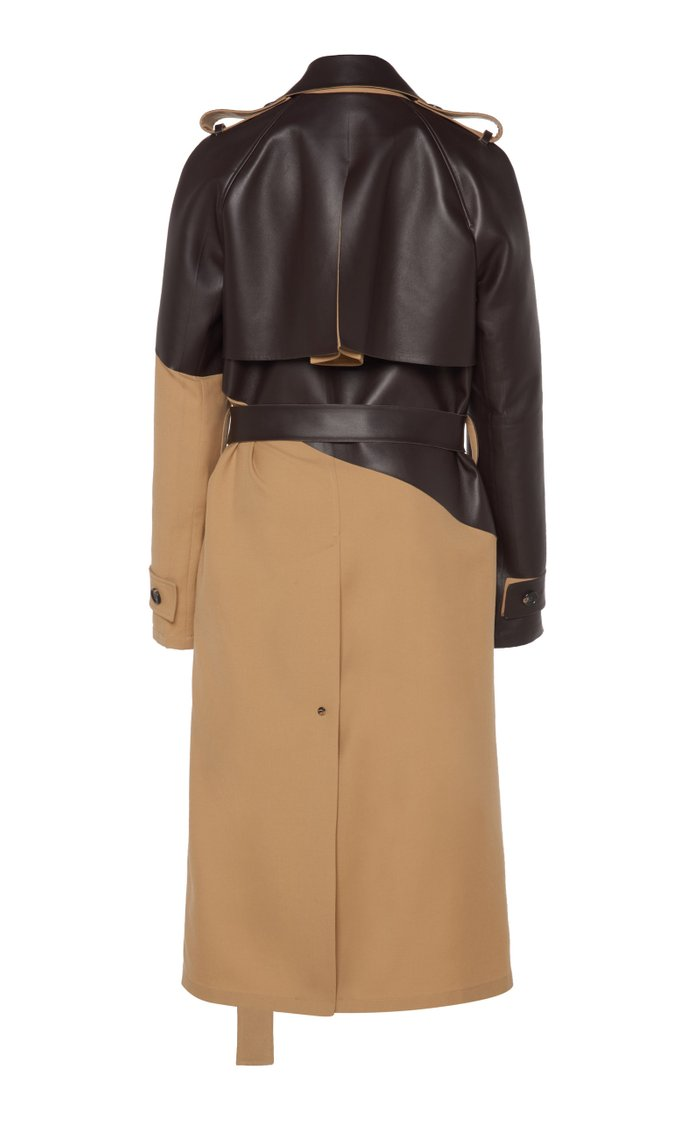Belted Dual Wool and Leather Trench Coat