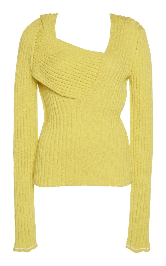 Fitted Rib-Knit Asymmetric Top