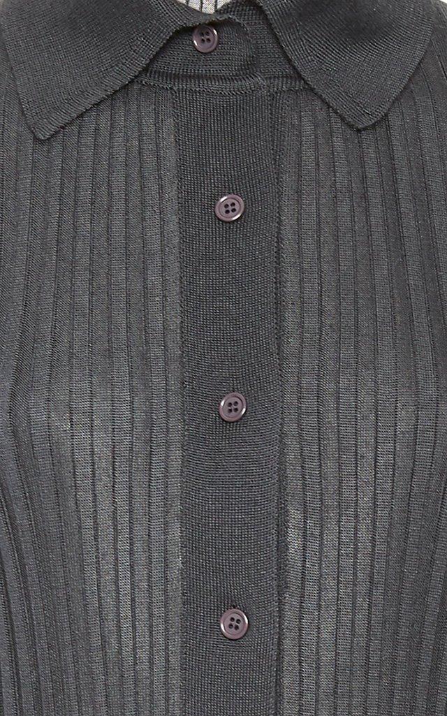 Ribbed Knit Silk Top