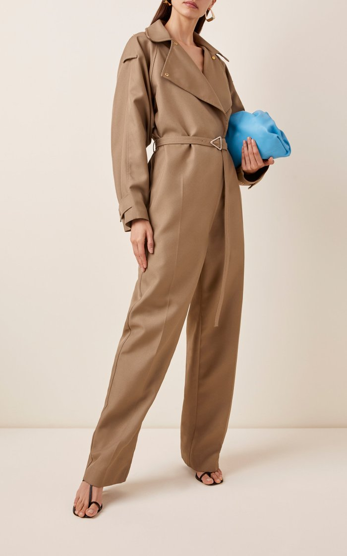 Belted Full-Length Twill Jumpsuit