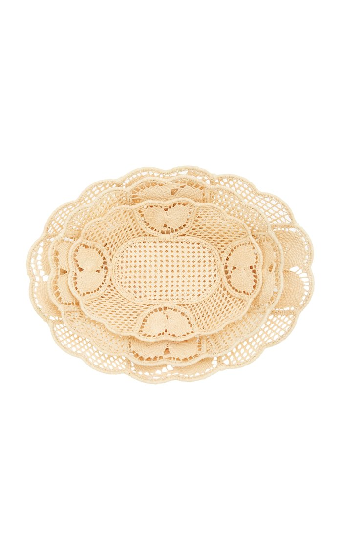Set-Of-3 Nesting Raffia Bowls