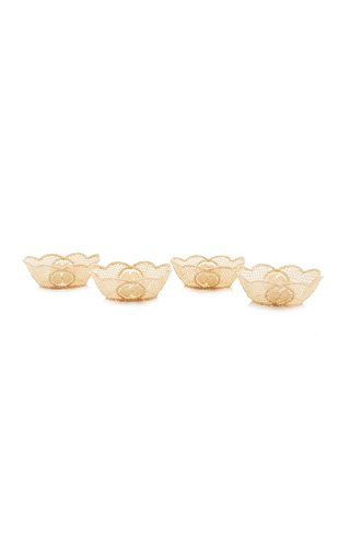 Set-of-4 Small Oval Raffia Bowls