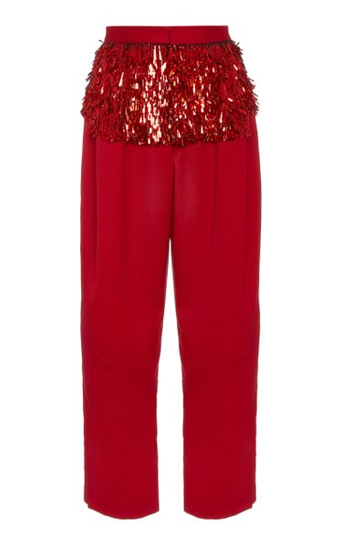 Divide Embellished Pleated Wool Pants