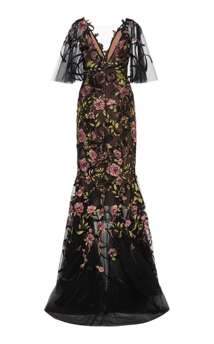 V-Neck Floral Embellished Gown